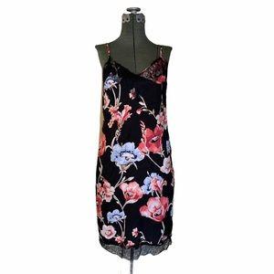 White House Black Market Black Floral Slip Dress